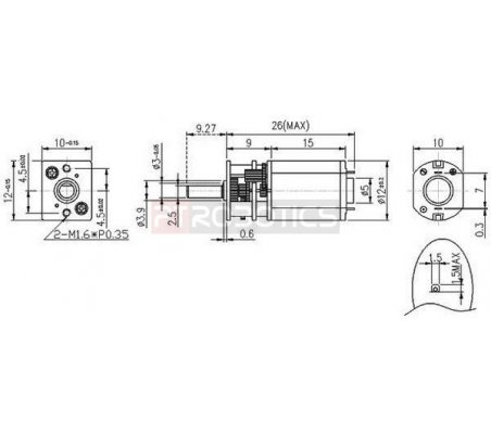 250:1 Micro Metal Gearmotor   Motor DC com Engrenagens  