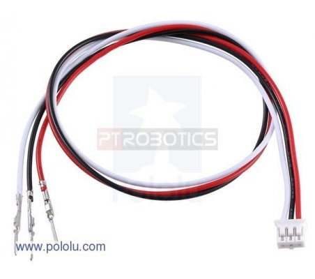 "3-Pin Female JST PH-Style Cable - 30cm - Male Pins for 0.1"" Housings"