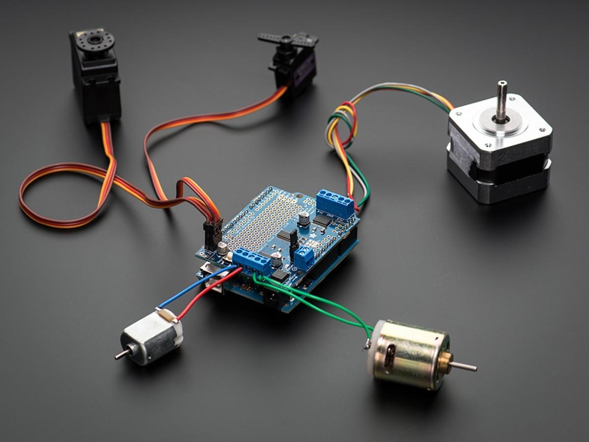 Adafruit Motor Stepper Servo Shield For Arduino V2 Kit Overview Microphone Amplifier Breakout Learning