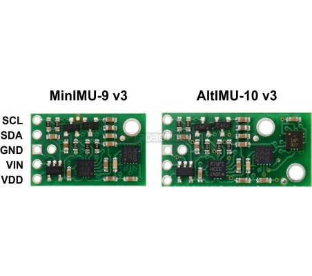 AltIMU-10 v3 Gyro, Accelerometer, Compass, and Altimeter (L3GD20H, LSM303D, and LPS331AP Carrier)