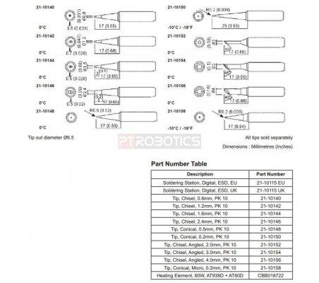 Chisel Tip 1.6mm for 60W ESD Soldering Station | Material Soldadura |