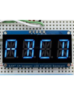 "Quad Alphanumeric Display - Blue 0.54"" Digits with I2C Backpack"