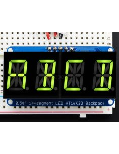 "Quad Alphanumeric Display - Pure Green 0.54"" Digits with Backpack"