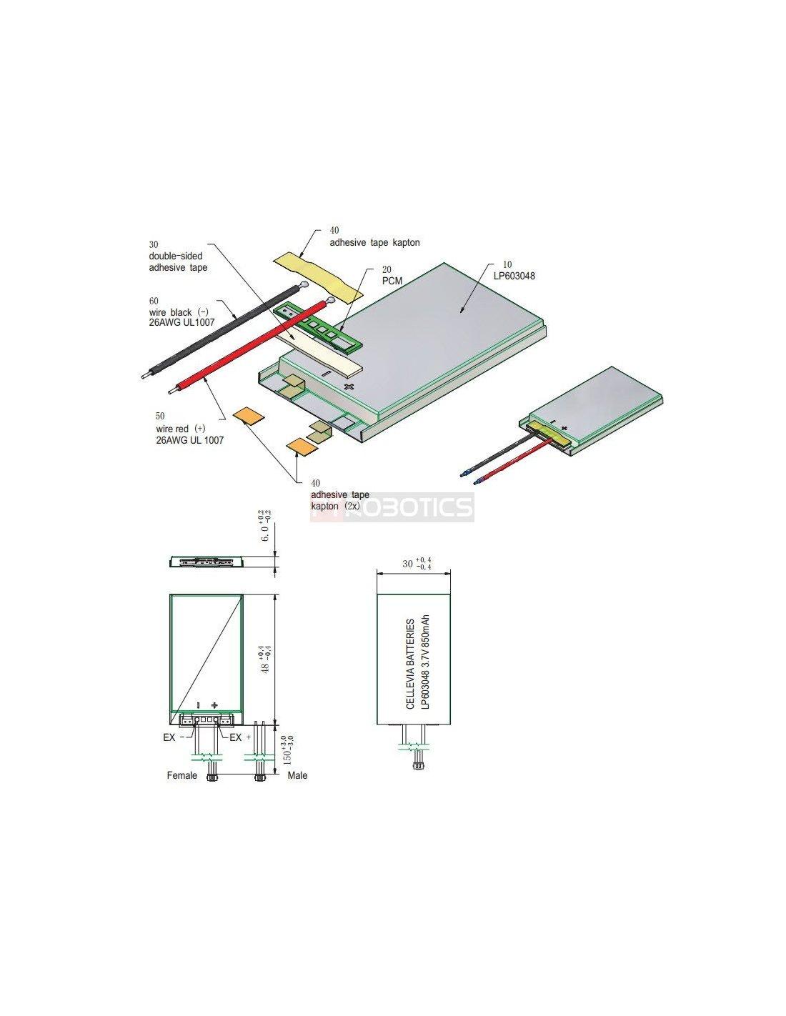 Polymer Lithium Ion Battery 3 7v 850mah Lipo