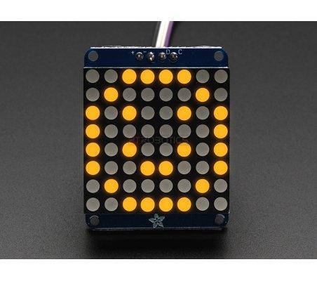 Adafruit Small 1.2 8x8 LED Matrix w/I2C Backpack - Yellow   Matriz de Led   Adafruit