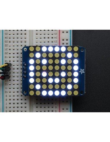 Adafruit Small 1.2 8x8 LED Matrix w/I2C Backpack - Ultra Bright Branco   Matriz de Led   Adafruit