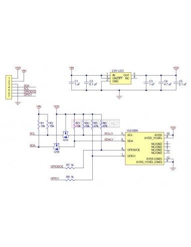 proximity sensor circuit diagram as well as voltage regulator  vl6180x time of flight distance sensor carrier with voltage regulatorproximity sensor circuit diagram as well as