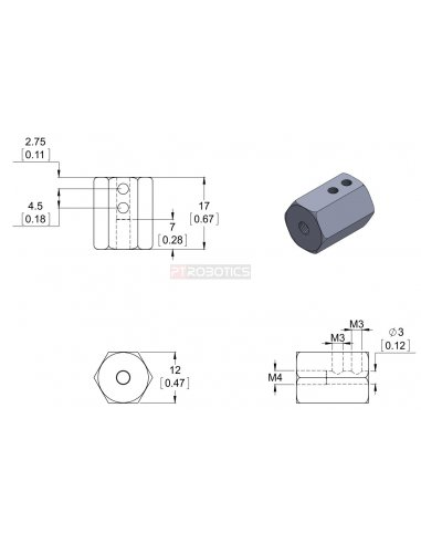12mm Hex Wheel Adapter for 3mm Shaft (2-Pack) | Hub's e Suportes | Pololu