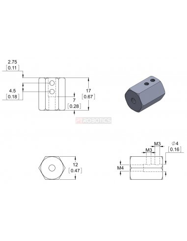 12mm Hex Wheel Adapter for 4mm Shaft (2-Pack) | Hub's e Suportes | Pololu
