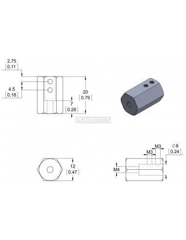 12mm Hex Wheel Adapter for 6mm Shaft (2-Pack)   Hub's e Suportes   Pololu