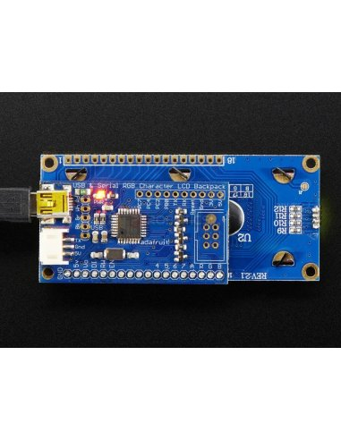 USB + Serial Backpack Kit with 16x2  RGB backlight positive LCD (Black on RGB) | LCD Alfanumerico | Adafruit