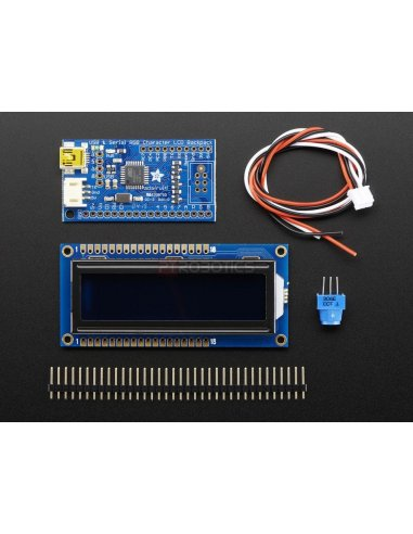 USB + Serial Backpack Kit with 16x2  RGB backlight negative LCD (RGB on Black)