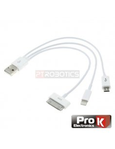 USB Triple Output cable - Apple Lightning - 30pin - Micro USB