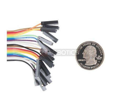 """Jumper Wires - Connected 6"""" M/F Pack of 20 Sparkfun"""