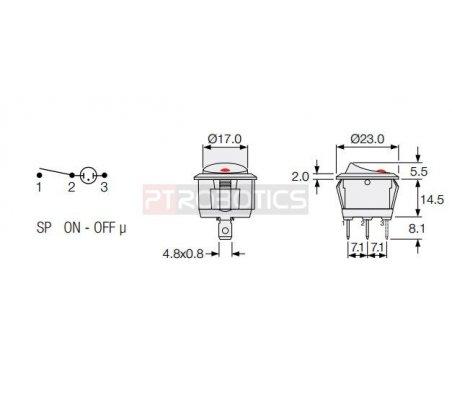 Illuminated Round Rocker Switch with led SPST 10A 250V | Basculante |
