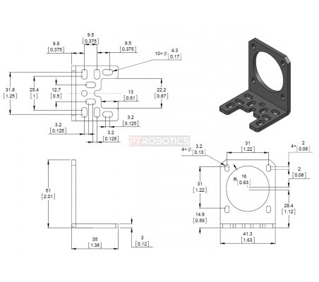 Pololu Stamped Aluminum L-Bracket for NEMA 17 Stepper Motors | Hub's e Suportes | Pololu
