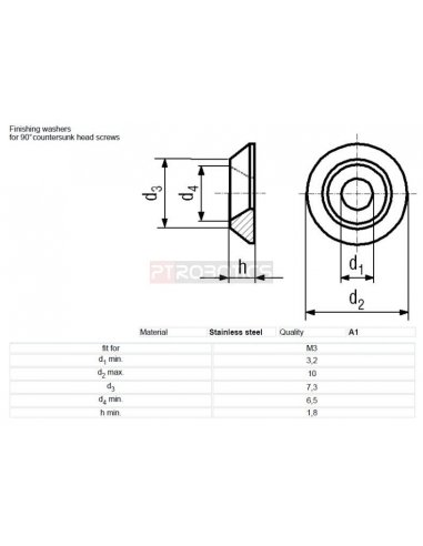 M3 washer for countersunk bolts | Parafusos |